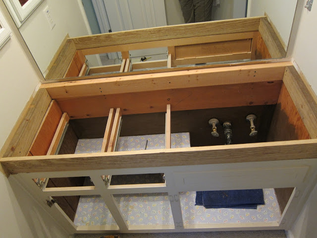 2 x 4 box to raise vanity height.