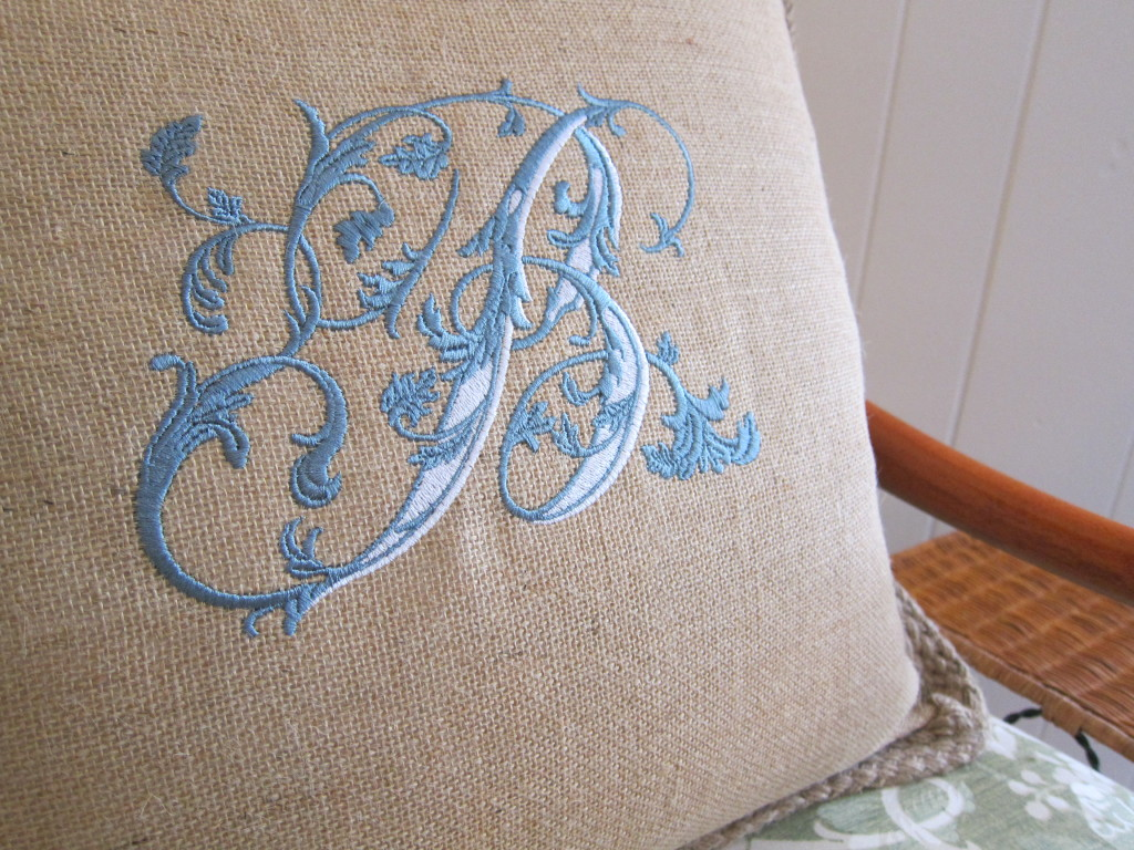 B Embroidery Pillow